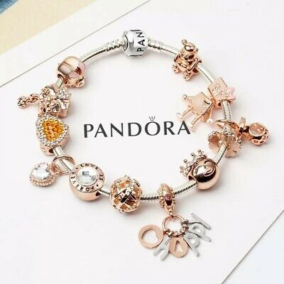 Authentic PANDORA Bracelet Silver with Rose Gold Happy European Charms New  | eBay