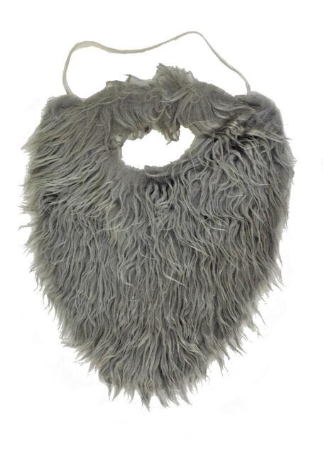 Grey Old Man Fake Fur Beard & Mustache Costume Accessory ... Old Man Fake Beard