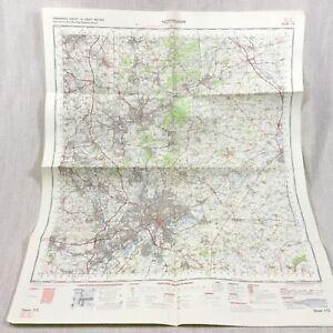 1971 Vintage Militare Mappa Di Nottingham Mansfield Ilkeston Beeston Lungo Eaton