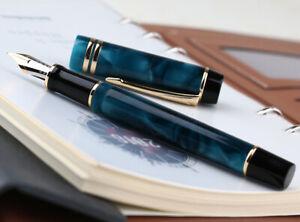 Moonman M600S Stylo plume en acrylique Bleu Pointe fine Iridium