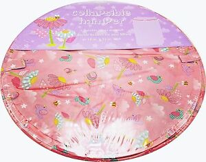 Girls-Pink-Toy-Storage-Bin-Laundry-Hamper-Bees-Birds-Flowers-Collapsible-New