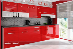 Red Gloss Kitchen 7 Units On Legs
