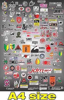 RC DRIFT CAR STICKER SHEET JDM A4 PAGE 1/10 1/8 HPI MST PANDORA 3 RACING TAMIYA