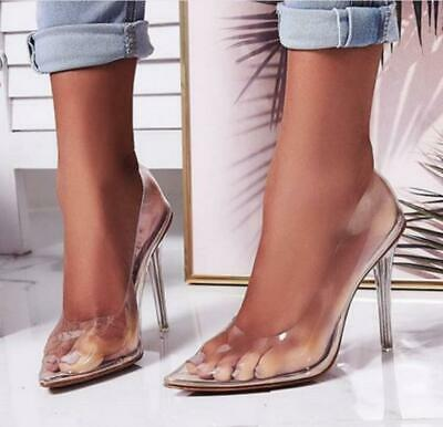 Womens Ladies Perspex Clear Pointed Stiletto High Heel Court Shoes Pumps Size 9L
