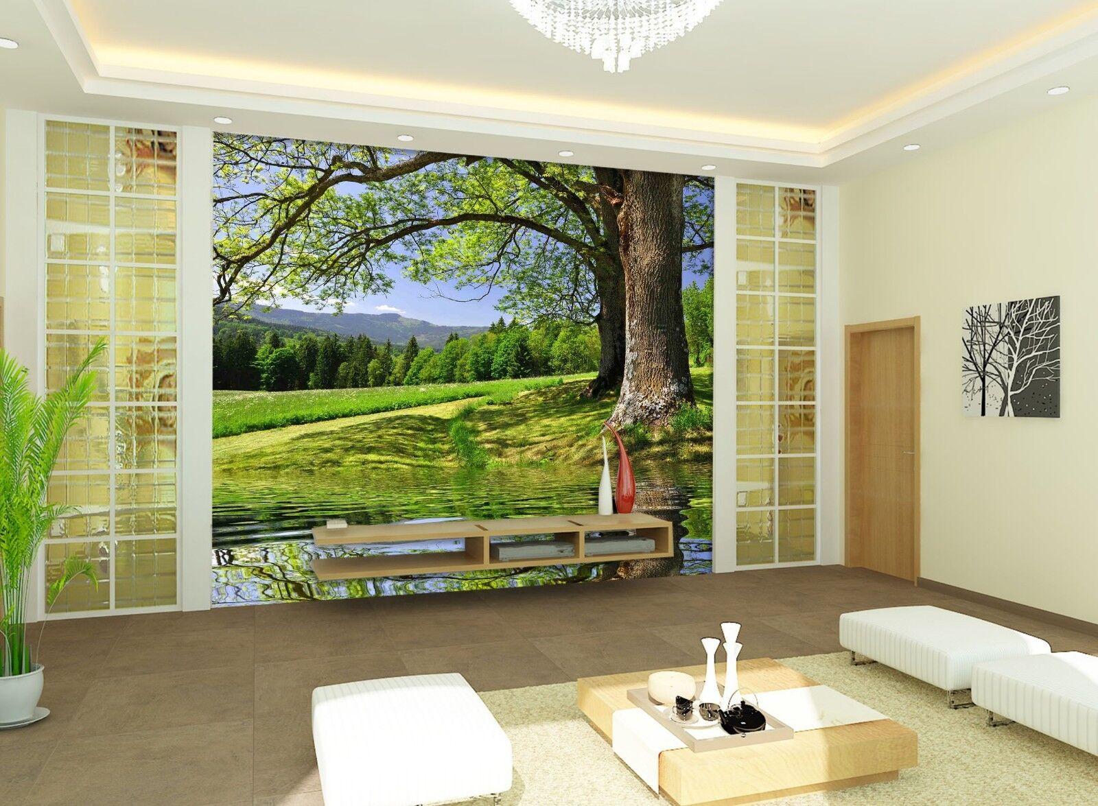 3D River Tree 7221 Wallpaper Mural Wall Print Wall Wallpaper Murals US Lemon