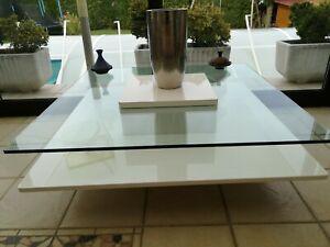 Table basse rectangulaire plateau en verre socle blanc