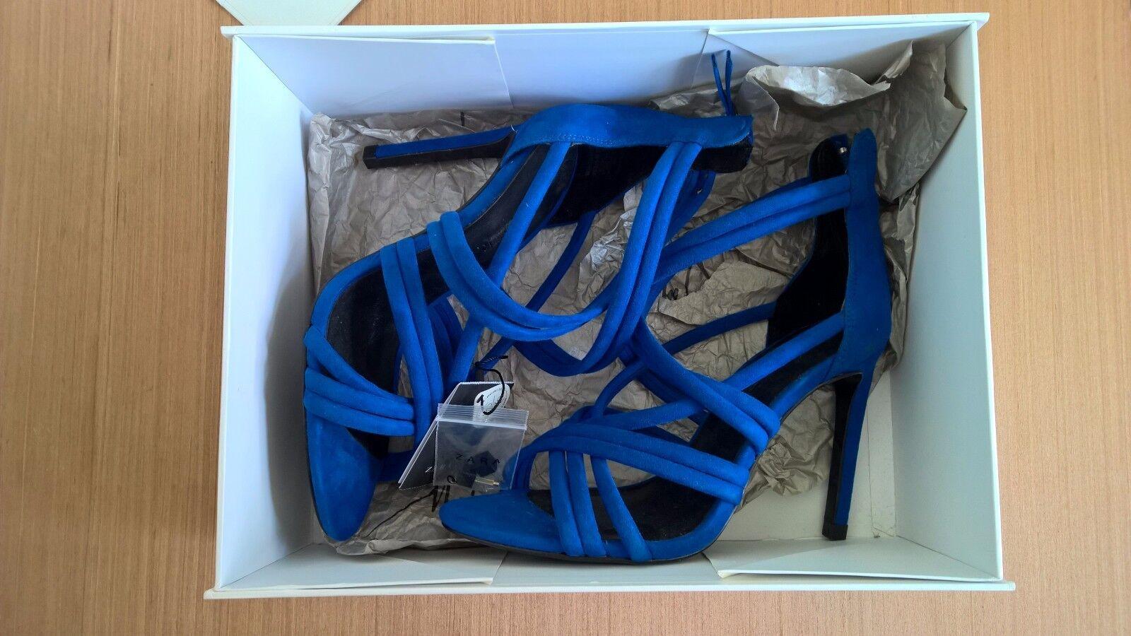New Zara Blau High Heel Strappy Sandalen Schuhes Eur 37