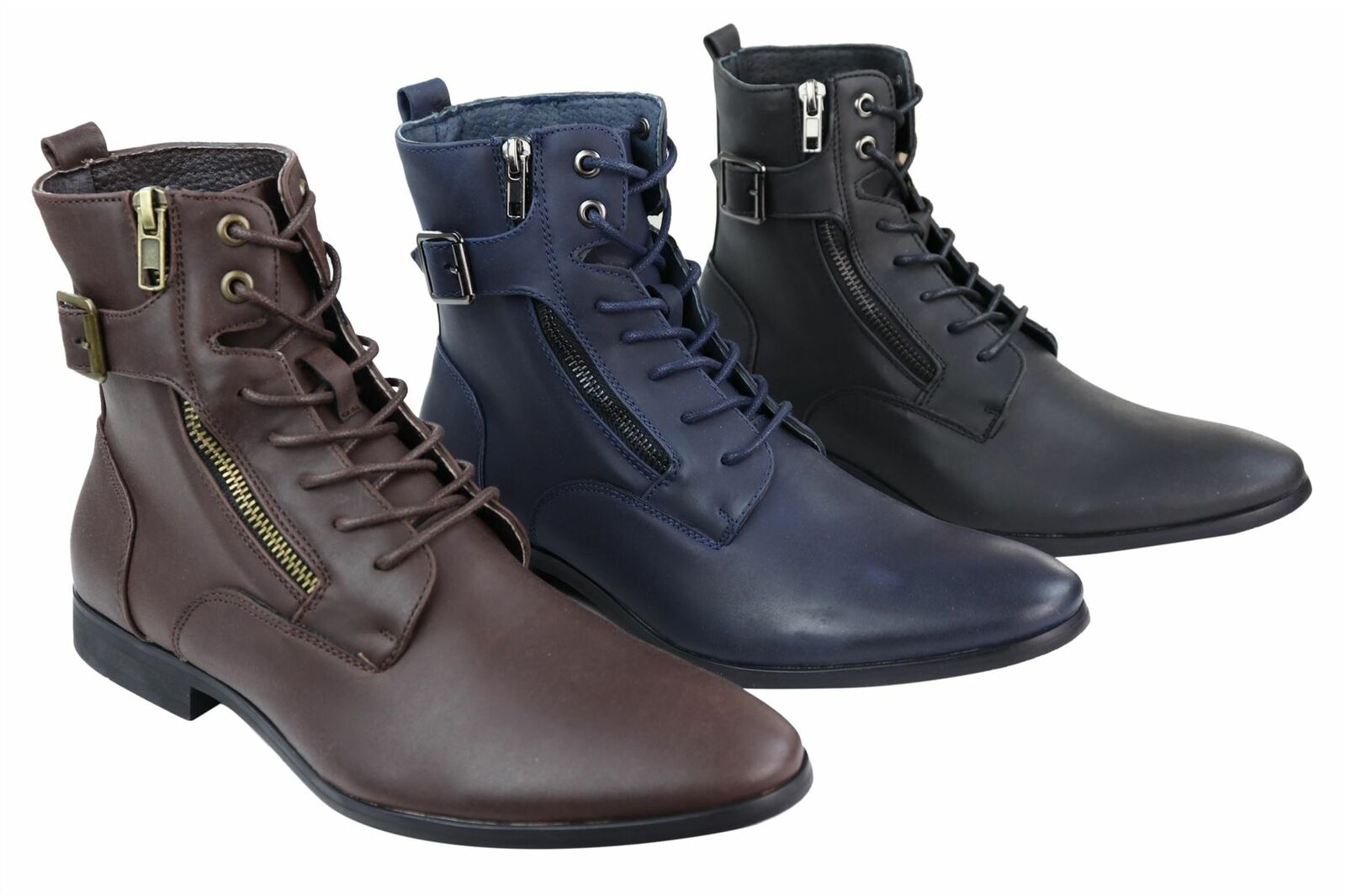 Mens Ankle Laced Zip Buckle Stiefel Military Vintage Peaky Blinders Smart Casual