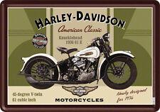Harley Davidson Knucklehead Blechschild 10x14 cm Blechkarte 10123 Sign