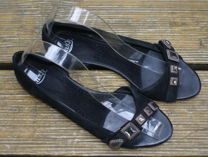 ASH Ballerinas Sandale Echtleder Veloursleder schwarz Gr.38   UK 5 Super Zustand