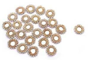Round-Shape-Appliques-Cream-Rhinestones-Beaded-Sewing-Apparel-Dress-Patch-12-Pcs