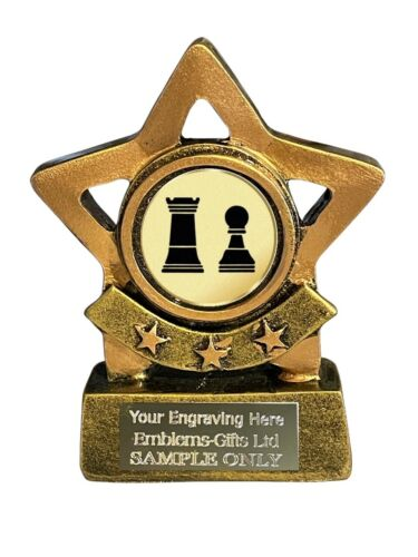 Chess Pieces Star Trophy 8 cm Award ENGRAVED FREE