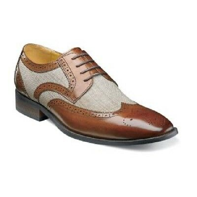Men/'s Shoes Stacy Adams Kemper Linen Brogue Oxford 25191-282 Beige Multi *New*