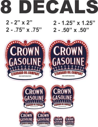 8 Crown Gasoline Standard Oil Company Vinyl Decals