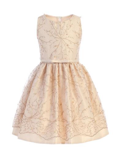 Champagne Flower Girl Glitter Snowflake Pearl Dress Easter Christmas Wedding 774