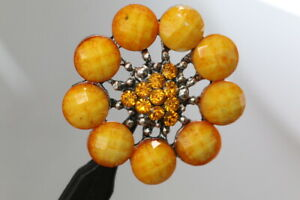 Extravagant-Yellow-Blutenknopf-With-Gemstones-And-Rhinestone-Probably-From