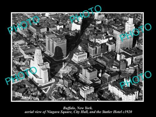 OLD LARGE HISTORIC PHOTO OF BUFFALO NEW YORK, AERIAL VIEW OF NIAGARA SQUARE 1920
