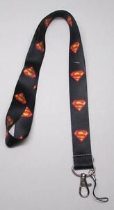 Black-SUPERMAN-LANYARD-KEY-CHAIN-Ring-Keychain-ID-Holder-NEW