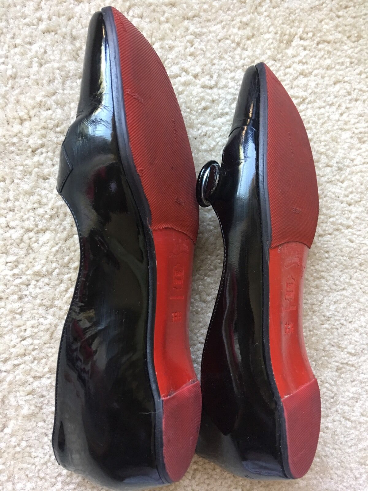 Auth Christian Louboutin Black Pattern Leather Leather Leather Ballerina Flats 36.5US-EUR36.5 1adc9f