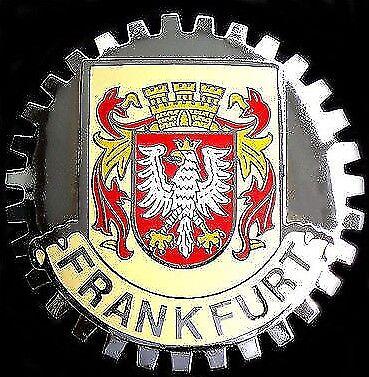 FRANKFURT GERMAN CITY CREST CAR GRILLE BADGE CHROME EMBLEM  BENZ BMW AUDI