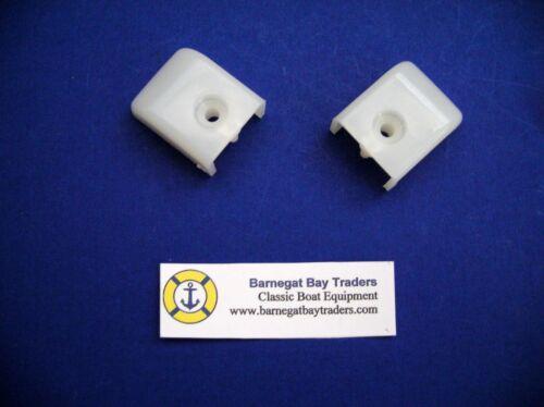 2 BBT Brand White Bimini Top End Caps for Track