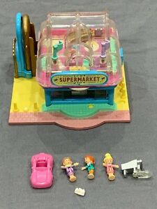 Bluebird-Polly-Pocket-1995-Supermarket-Pollyville-Playset-100-COMPLETE-Car-Doll