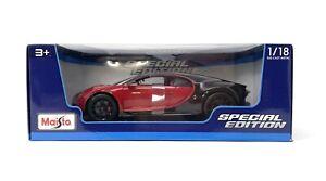 Maisto-Bugatti-Chiron-Sport-2020-Edicion-Especial-Escala-1-18-Rojo-Negro-Nuevo-31718