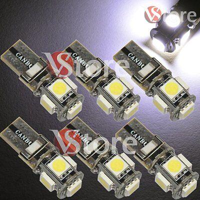 Brioso 6 Lampade Led T10 5 Smd Canbus No Errore Bianco Xenon Per Targa Posizione Luci