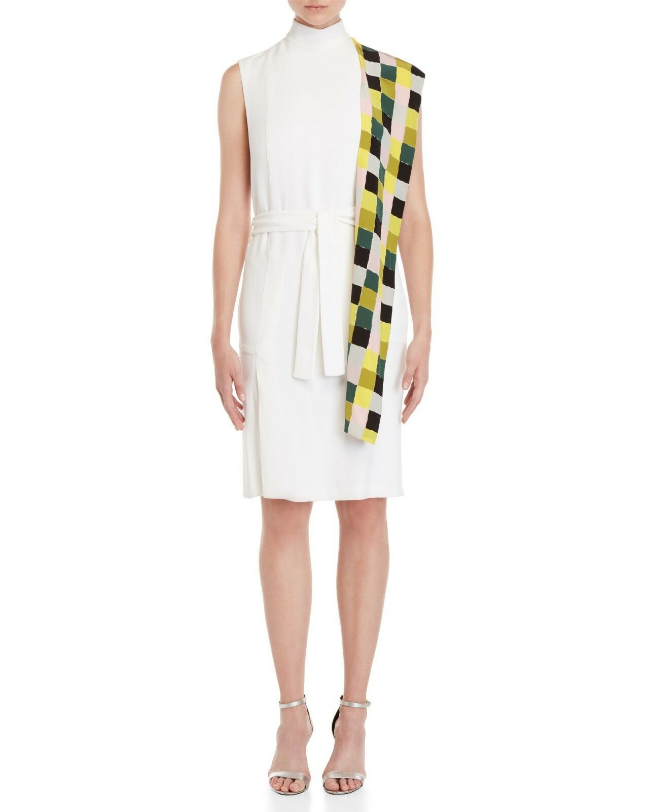 New Designer EMILIO PUCCI Ladies White Sleeveless Dress w Plaid Scarf  46 ITALY