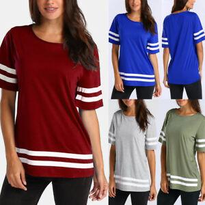 Women-Casual-Summer-Crew-Neck-T-Shirt-Short-Sleeve-Loose-Tops-Blouse-Pullover