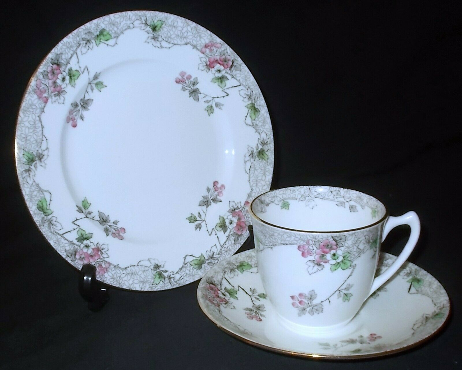 Image 1 - Shelley BRAMBLE ROSE #B9293 Strand Shape Cup, Saucer and Side Plate #1