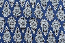 Indian Cotton-Voile-Hand-Block-Printed Fabric-Natural-Dyes-2.5-Yards Cloth Boho