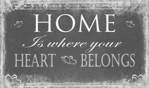 Grey Home is Where Heart Belongs quote Canvas Wall Art Picture Print