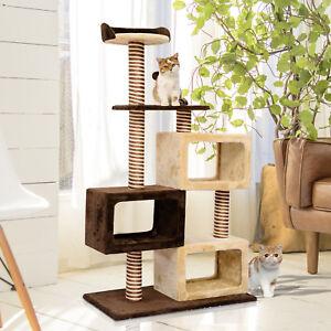 Multi-Level Cat Tree Cat Scratcher Climbing Tower Condo Play House