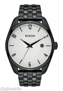 New-2015-Nixon-Watch-The-Bullet-Black-Silver-Womens-Mens-TX176