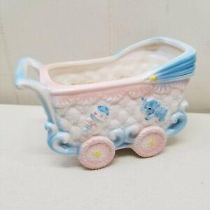 VINTAGE-Planter-Baby-Bassinet-Carriage-Elephant-Rattle-Pink-Blue-Home-Decor