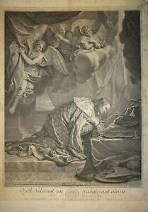 C-LEBRUN-1619-1690-GRANDE-GRAVURE-XVIII-PORTRAIT-ALLEGORIE-CHARLEMAGNE