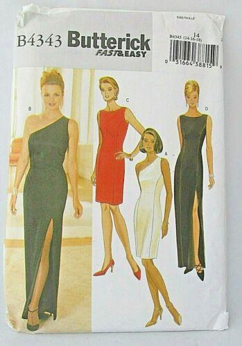 Butterick B4343 Misses Evening Gown Pattern Cocktail Dress One Shoulder 14-16-18