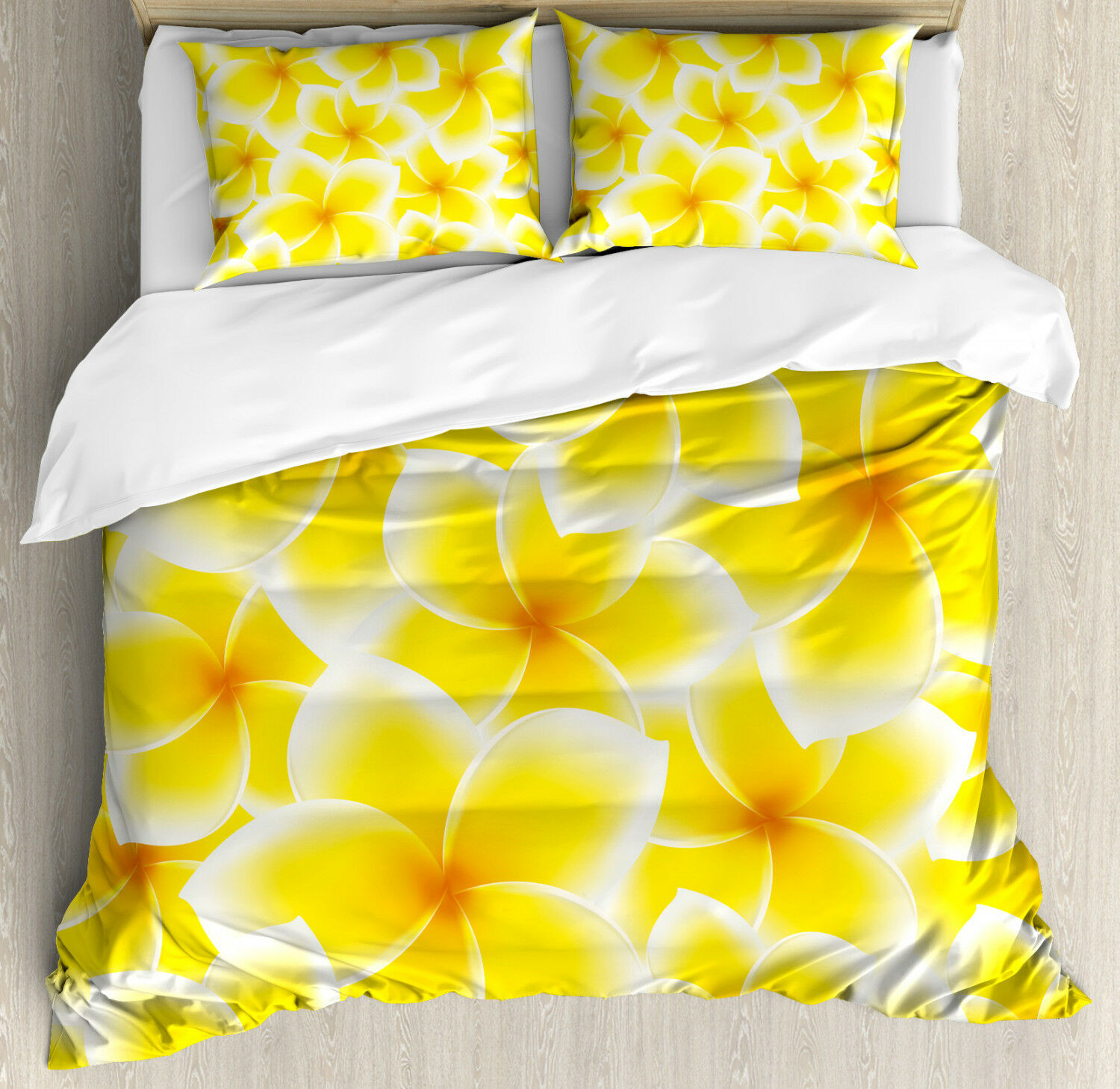 Hawaiian Duvet Cover Set with Pillow Shams Asian Flower Blossoms Print