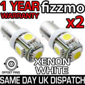 2x-5-SMD-LED-433-434-BAX9S-H6W-OFFSET-PINS-CAP-HID-XENON-WHITE-SIDE-LIGHTS-UK