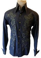 Embroidered Gothic Victorian Renaissance collar steampunk tuxedo medium shirt m