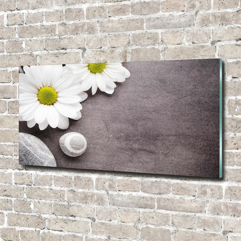 Glas-Bild Wandbilder Druck auf Glas 140x70 Deko Blaumen & Pflanzen Gerbera