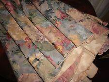 "BURLINGTON PORTOFINO BLUE ROSE FLORAL HYDRANGEA ROUND TABLECLOTH 66"" TUSCAN"