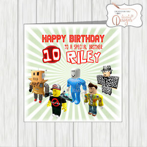 Image Is Loading Personalised ROBLOX Birthday Card Age Amp Name Son