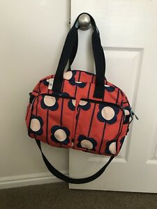 Image Is Loading Orla Kiely Target Red Navy Flower Bag Weekender