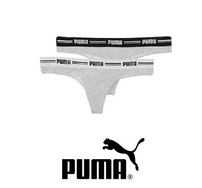 Details zu Puma Sports Thong Womens Iconic String Pair (2 Pack) Black White Grey S M L
