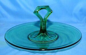 Vaseline-Green-Depression-Glass-Handled-Server-Tray-c1900s-Co-Operative-Flint