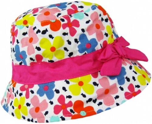 Girls 100/% Cotton Bright Pink Floral Pattern Beach Bush Sun Summer Hat