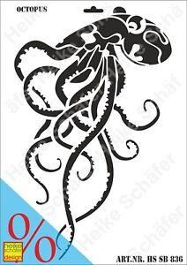 Schablone-Stencil-A3-147-0836-Octopus-Neu-Heike-Schaefer-Design