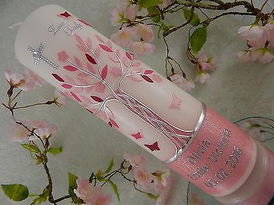 Taufkerze Kommunionkerze Lebensbaum rosa pink silber lang dünn Taufkerze Mädchen